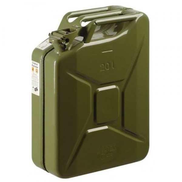 Donkergroene (legergroene) metalen jerrycan met een inhoud van 20 liter