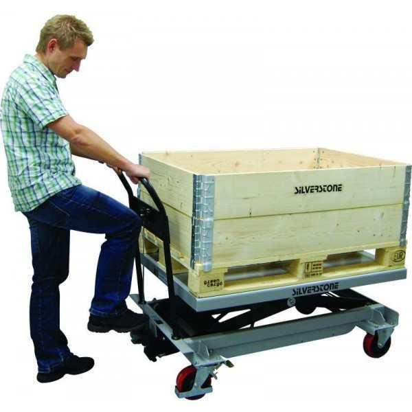 Verrijdbare heftafel 1200x800mm, LH=370-1190mm, cap500kg